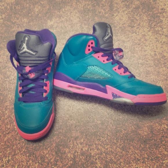 28828ab2227dd3 Jordan Shoes - Air Jordan 5 Retro- GS TEAL pink-purple
